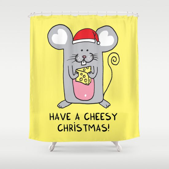 Have a cheesy Christmas Shower Curtain