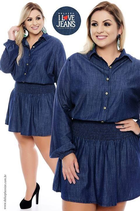 Vestido Jeans Plus Size Ivy -  - Coleção Outono Inverno Plus Size - daluzplussize.com.br
