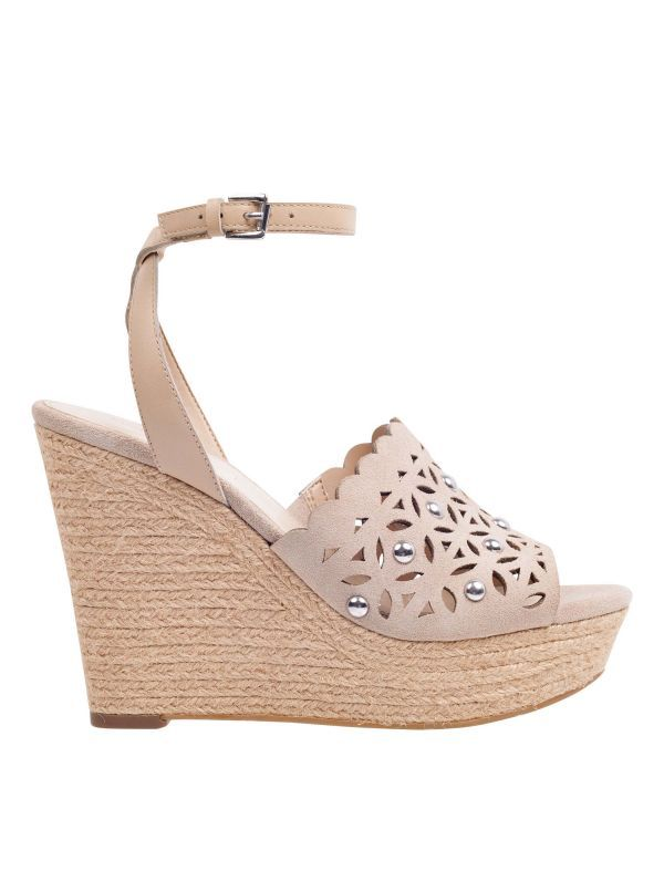 902ac6c5612 Hata Cutout Wedge Sandal - Light Natural Suede in 2019 | Shoes ...