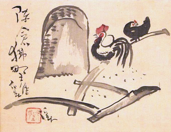 Tomita Keisen 富田渓仙 (1879-1936), Chickens, a Plow and a Haystack (kakemono).