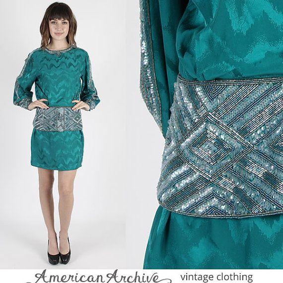 Robe perlée robe de soie robe Disco robe Vintage 80 s paillettes perles robe bleu sarcelle soie Cocktail Party Deco Secrétaire Mini M