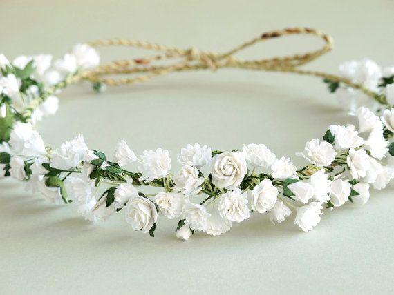 Gypsophila flor corona  tocado de novia blanco  de aliento