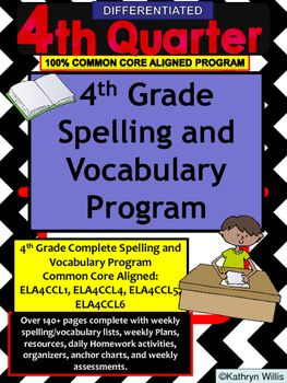 This is a 4th grade spelling and vocabulary unit.  It contains spelling and vocabulary lists and activities related to Common Core Standards.  This unit is for the 3rd quarter.  Standards related with this unit are:ELACC4L2:  Spells grade appropriate words correctly, consulting references as needed.ELACC4L1:  Correctly use frequently confused words (e.g., to, too, two;  there, their)ELACC4L4:  Determine or clarify the meaning of unknown and multiple-meaning words and phrases based on grade…