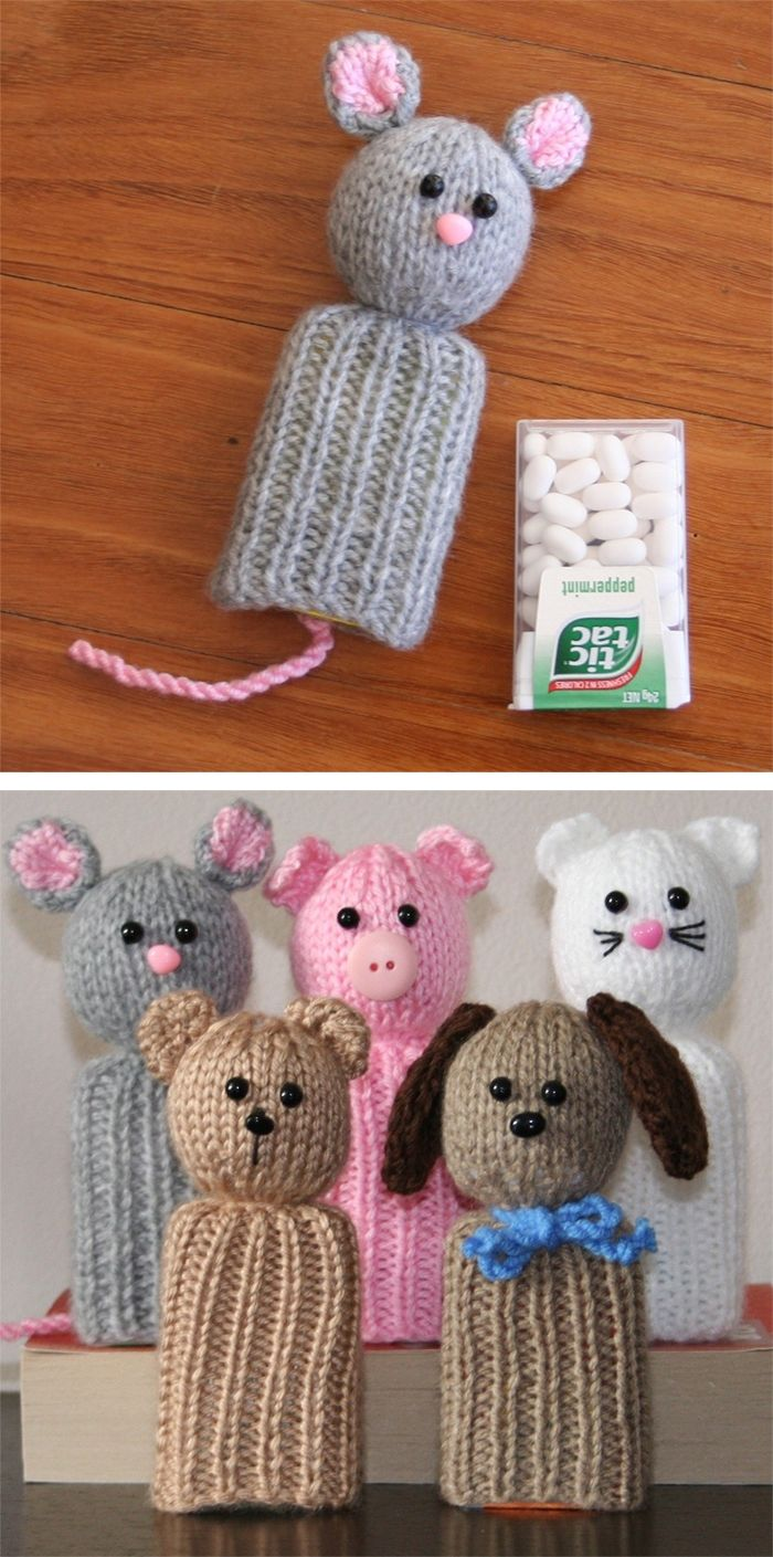 Knitting Pattern for Tic Tac Toys - Knit these animals to place over the Tic no  MoTac type boxes. They have many uses:a cover for your Tic Tacsa tooth box for the tooth fairya secret note holdera goody bag at a birthday partya rattle – sew up the bottom to enclose the box totally, fill with beadsThis pattern includes instructions for a mouse, puppy, cat, bear, and pig. Designed by Kookla Creations who allows the selling of finished items. Great use for scrap yarn!