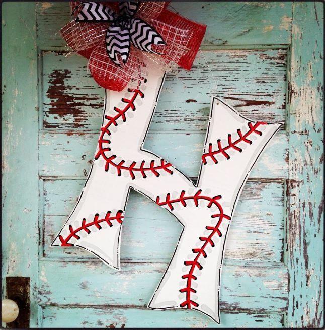 24+inch+Baseball+Initial+door+hanger+baseball+by+BluePickleDesigns,+$45.00
