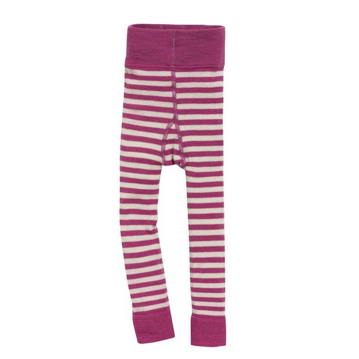 Strømpelongs, ull: Ull-longs med striper. 80% merinoull, 18% økologisk bomull, 2% elastan. fra Nøstebarn.