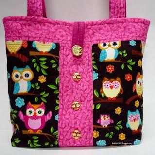 BaRb'n'ShEll Creations-Pink trim Owl tote - BaRb