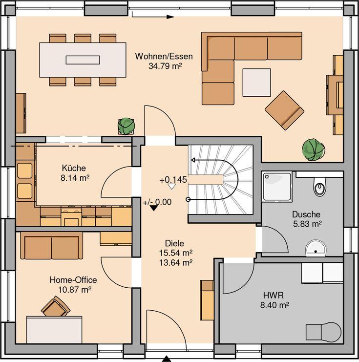 Grundriss Zeichnen Balkon : KernHaus Stadtvilla Centro Grundriss Erdgeschoss  wohnzimmer küche