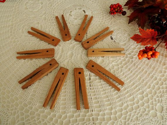 Vintage Clothespins Set of 10 Wooden Clothes-pegs Pegs