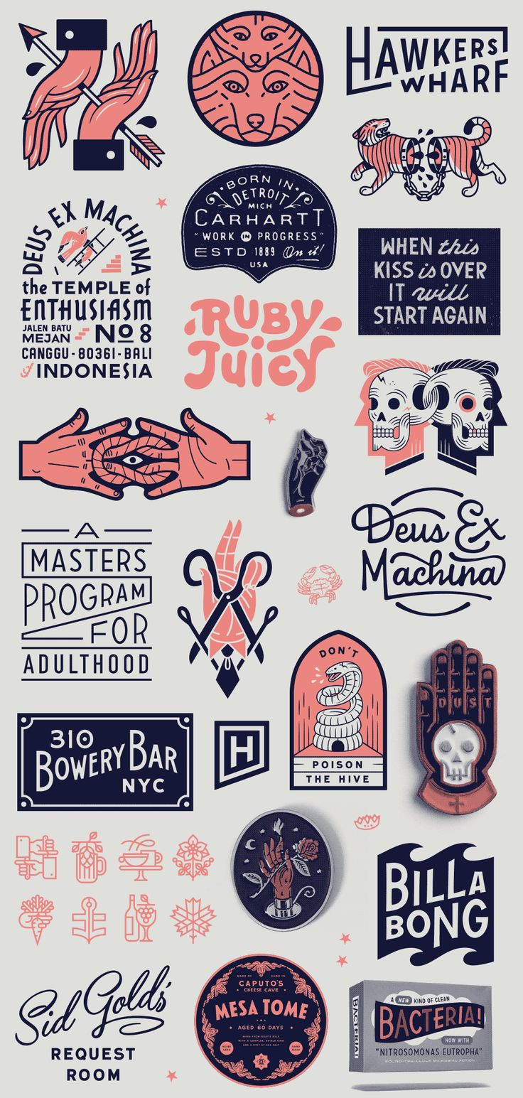 Vintage hand drawn logo designs