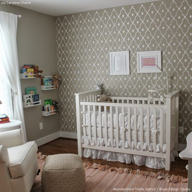 5 Baby Room Décor Accent Walls Ideas with Designer Nursery Stencils - Royal Design Studio