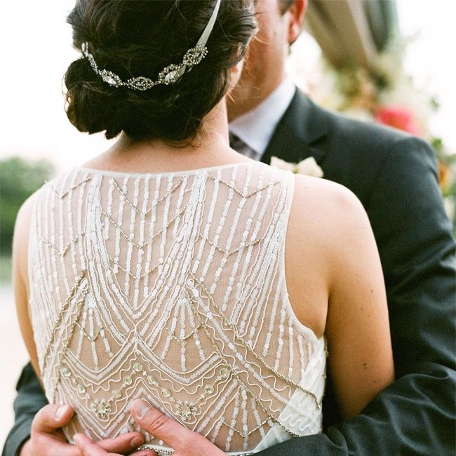 Gorgeous beaded gown and headband. Love this style! Photo: Q Weddings