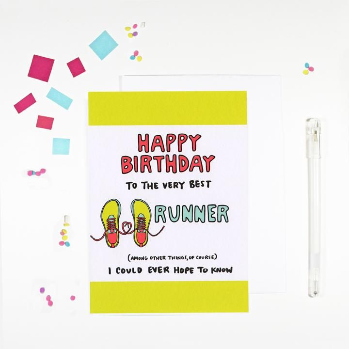 Happy Birthday Runner Birthday Card Birthday Cards Happy Birthday Fun Happy Birthday Cards