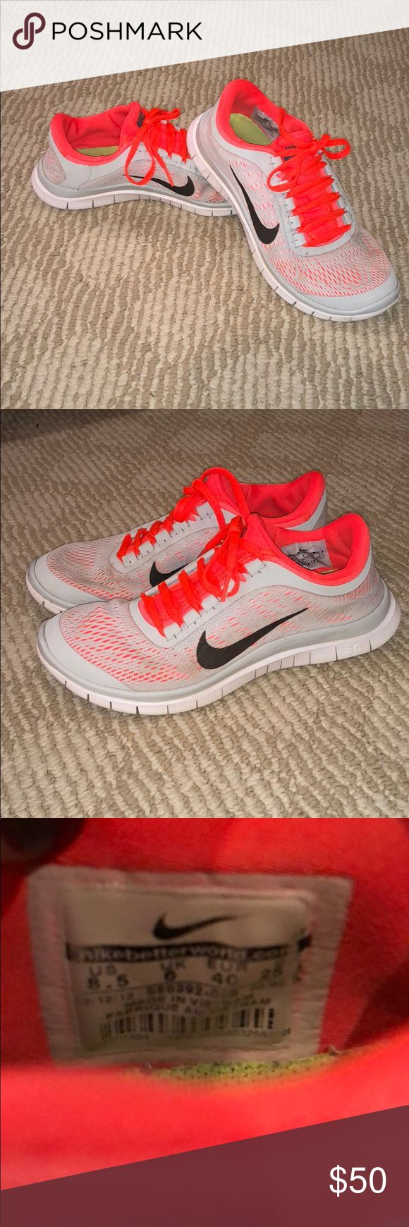 Nike free 3.0 orange and light grey Nike 3.0 free. Vibrant color, great condition! Nike Shoes Sneakers