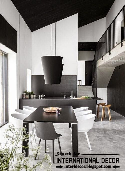 Contemporary black and white dining room sets ideas and furniture 2015, black ceiling