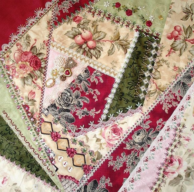 I ❤ crazy quilting . . . Crazy Patch Seam Treatments and Completed Block 4