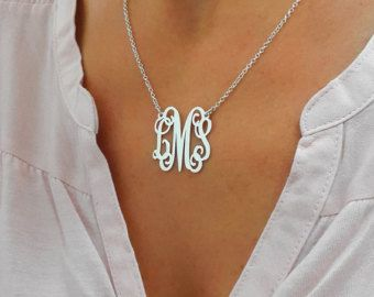 **On picture pendant size 1 with 16 chain**  Personalized Monogram necklace, choose 1-3 letters as you wish. Pendant size: 1, Rollo chain connected to both sides of the monogram. Thickness: 0.7mm I use 925 Sterling silver for pendant and chain.  **1 YEAR WARRANTY ON ALL ITEMS*** Want to see a preview of the initials? Just send me a message and I will make you one.  Please choose 1-3 letters you like and I will create your unique monogram. It can be your initials, or letters of the one most…