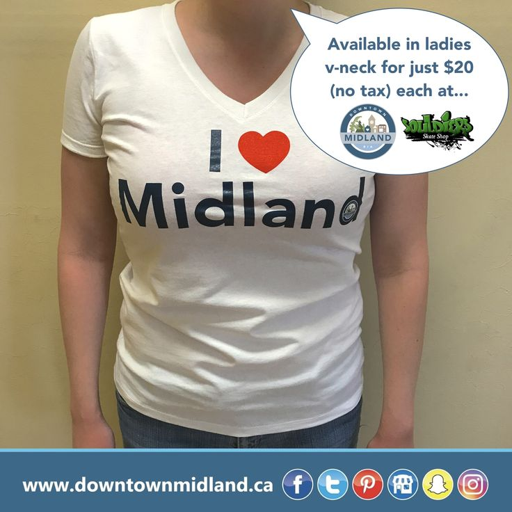 Ladies 'I ❤️ Midland' v-neck shirts are available at the Downtown Midland BIA (212 King Street Unit #9) and Souldiers Skate Shop (213 King Street) for just $20 (no tax)!  Available in a variety of different fits and sizes!  #IHeartMidland #Shirt #DowntownMidlandON