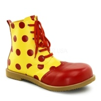 Yellow with Red Dots Leatherette Child Clown Shoes: $56.00