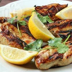 Lemon and garlic chicken @ allrecipes.co.uk Noble of me to add a meat recipe, but I hope it would work with Quorn fillets as well. Gluten and dairy free
