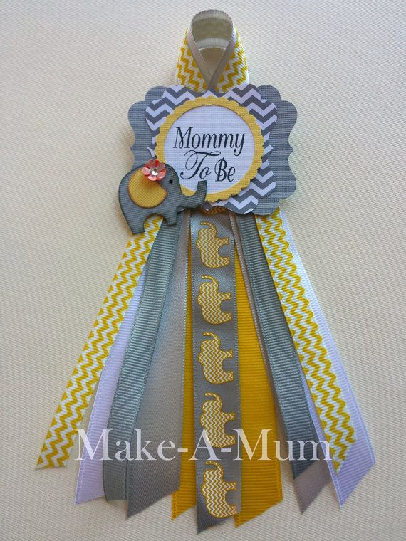 Elephant Grey and Yellow Baby Shower corsage Mommy To by MakeAMum
