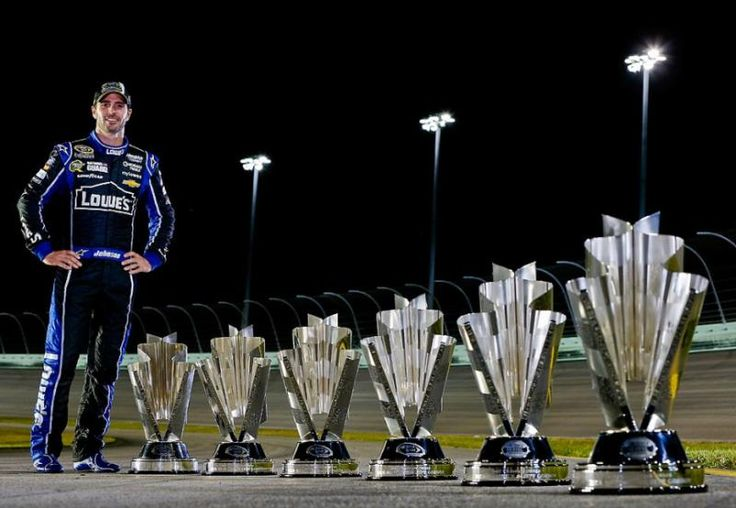 Jimmie Johnson championship trophy after the NASCAR Sprint Cup