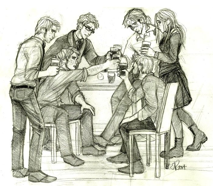 The remaining Weasley children toast Fred's life. <br/> <br/> Ginny, Ron, George, Percy, Charlie and Bill Weasley.<br/> <br/> After Harry Potter and the Deathly Hallows.