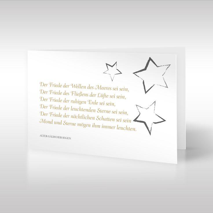 Sternenzelt     Der auf dieser Beileidskarte verwendete Spruch ist ein alter gälischer Segen. Die Stern-Illustration greift einen Teil des tröstlichen Trauerspruchs auf und findet oben rechts in der Ecke Platz. Die Stern-Motive wurden von uns digital per Hand illustriert. https://www.design-trauerkarten.de/produkt/sternenzelt-4/