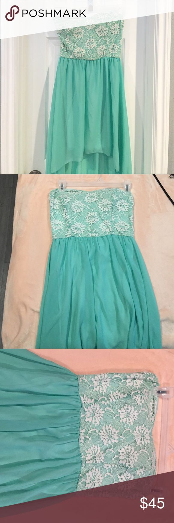 Mint green Windsor dress Nice to go out.  White laced top with mint green high low WINDSOR Dresses High Low