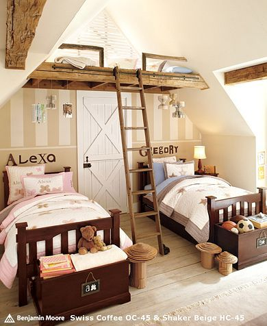 """""""Boy and Girl Toddler shared room"""" This is incredibly cute... but WHY DO YOU HAVE A LADDER IN YOUR TODDLERS' ROOM?!?!?!?!?!?! straight up they're going to crack their little heads."""