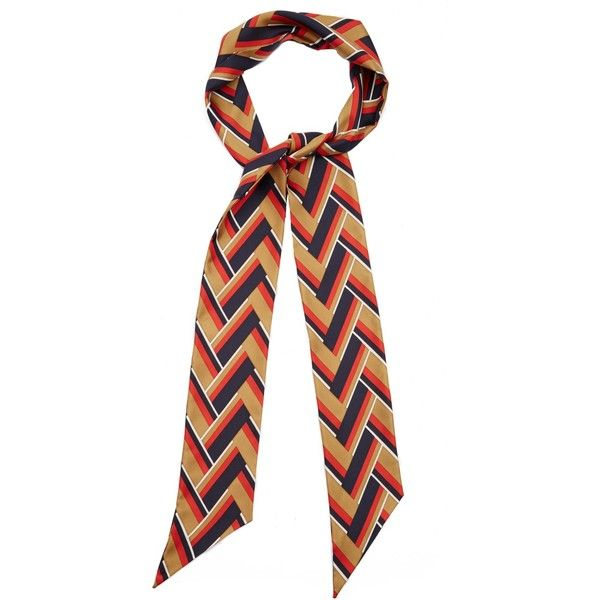 Gucci Chevron-striped silk-twill scarf ($246) ❤ liked on Polyvore featuring accessories, scarves, multi, navy blue scarves, chevron scarves, patterned scarves, chevron print scarves and navy blue shawl