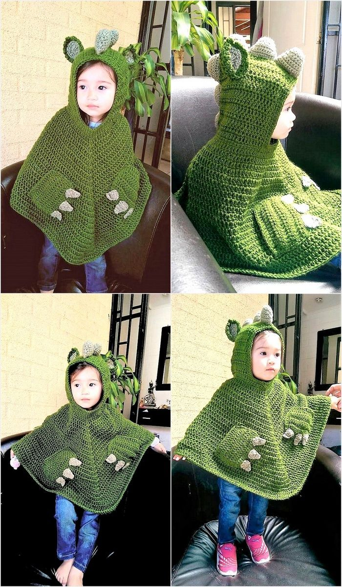 Crocheted poncho is not only for the kids, it is also for the adults and a person can make it in any size. The green colored dinosaur style poncho is looking good on the kid and the person can create any cartoon crocheted poncho, it is good to use the skill to impress others.
