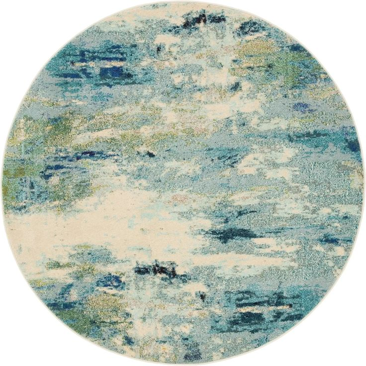 Light Blue 6' x 6' Theia Round Rug in 2020