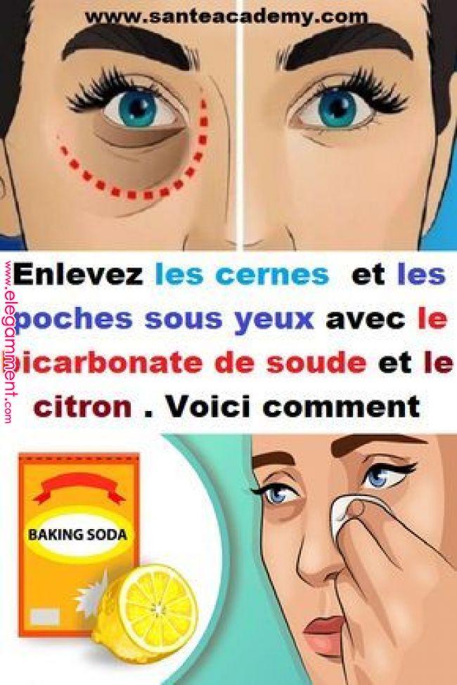 Enlevez les cernes et les poches sous yeux avec le bicarbonate de soude et le citron . Voici remark