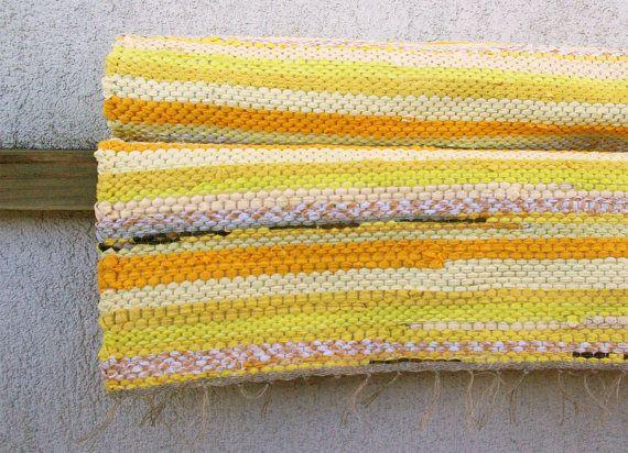 Hand woven Rag Rug  sunny yellow light 207' x 568' by dodres, $50.00