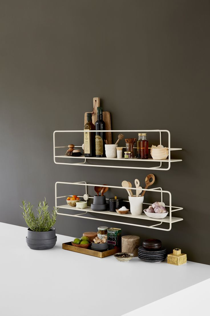 Minimal shelving from Danish brand WOUD - perfect for storing spices or displaying objects in the kitchen