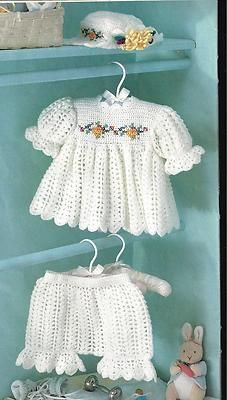"Crochet Pattern Baby Infant Toddler ""Sugar N Spice"" Dress Hat Pantaloons 