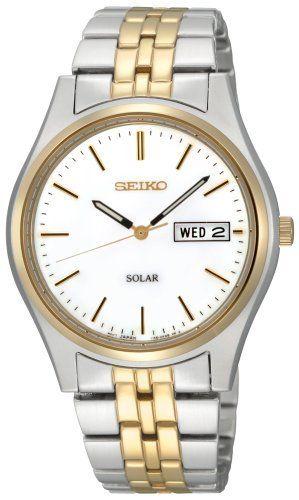 Seiko Men's SNE032 Two-Tone Solar White Dial Watch Seiko, http://www.amazon.com/dp/B0043ZYMP2/ref=cm_sw_r_pi_dp_HI7sqb1T7NDEB