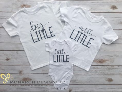 Third Baby Pregnancy Announcement Shirts for photos! Big Middle Little  https://www.etsy.com/listing/496407632/cute-big-middle-little-shirts-to-wear
