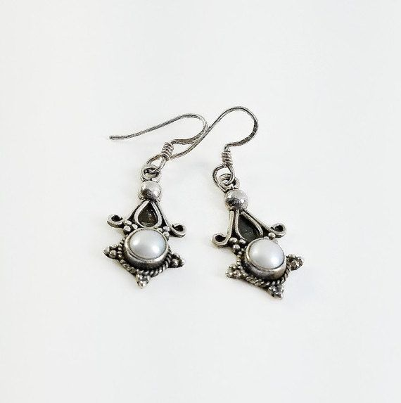 Sterling Mother of Pearl Earrings - Victorian Dangle Earrings - Sterling Dangle Earrings - MOP Dangle Earrings - Sterling Star Earrings  #SterlingDangles #MotherOfPearl #RoundMop #SmoothCabochon  #OrnateEarrings #MopEarrings #VictorianEarrings #DaintyEarrings   Don't Miss A THING! Visit and follow our shop for more great finds!   https://OrderOfDisorder.etsy.com