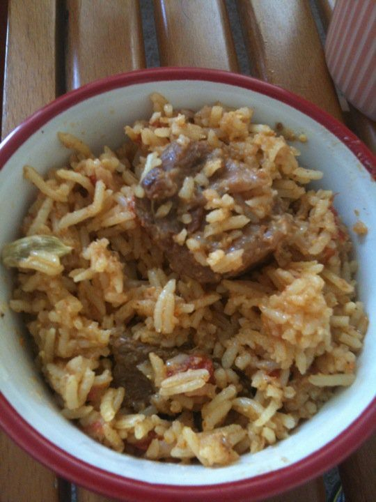 Beef biriyani. I love biriyani - an Indian rice and meat dish layered with spices, sometimes potatoes, etc, and am still working on it. Mine is good, but no where near what I've tasted in Desi homes.