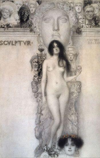 Sculpture Allegory, 1896 Gustav #Klimt  More about #art: http://sammler.com/art/ Mehr über #Kunst: http://sammler.com/kunst/