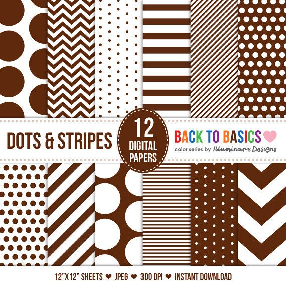 Packpapier Digital: Digitale Papier Verpacken in braun Chevron, Polka Dots, Stripes - zurück zur Basics Serie - kommerzielle Nutzung Ok - sofort-Download