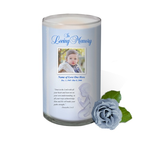 3x6 Glass Candles : Angelo Custom Photo Memorial Glass Candle 3x6