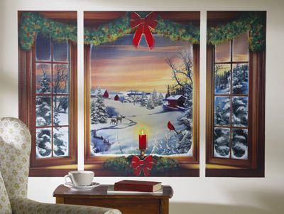 Wonderful Snow Day Winter Scene Removable Window Wall Decal