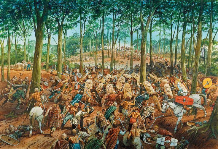 Imboscata ad un distaccamento di Legionari da parte di guerrieri galli, I secolo a.C.