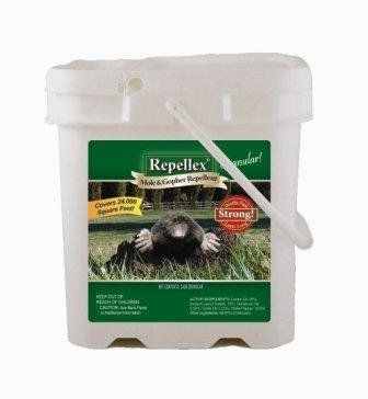 Repellex Mole, Vole & Gopher 24lb Pail 10545 by Repellex. $49.99. Available in both liquid concentrate and granular formulations. Environmental safe emulsifier agents allow repellent to absorb in the group quickly and effectively. The most successful mole, vole and gopher repellent available. Active ingredients include: castor, pepper and garlic oils.. Lasts from 30 to 60 days. Available in 32 oz Ready-To-Use (RTU) and 1-Gallon Concentrate sizes and 7 or 24lb....