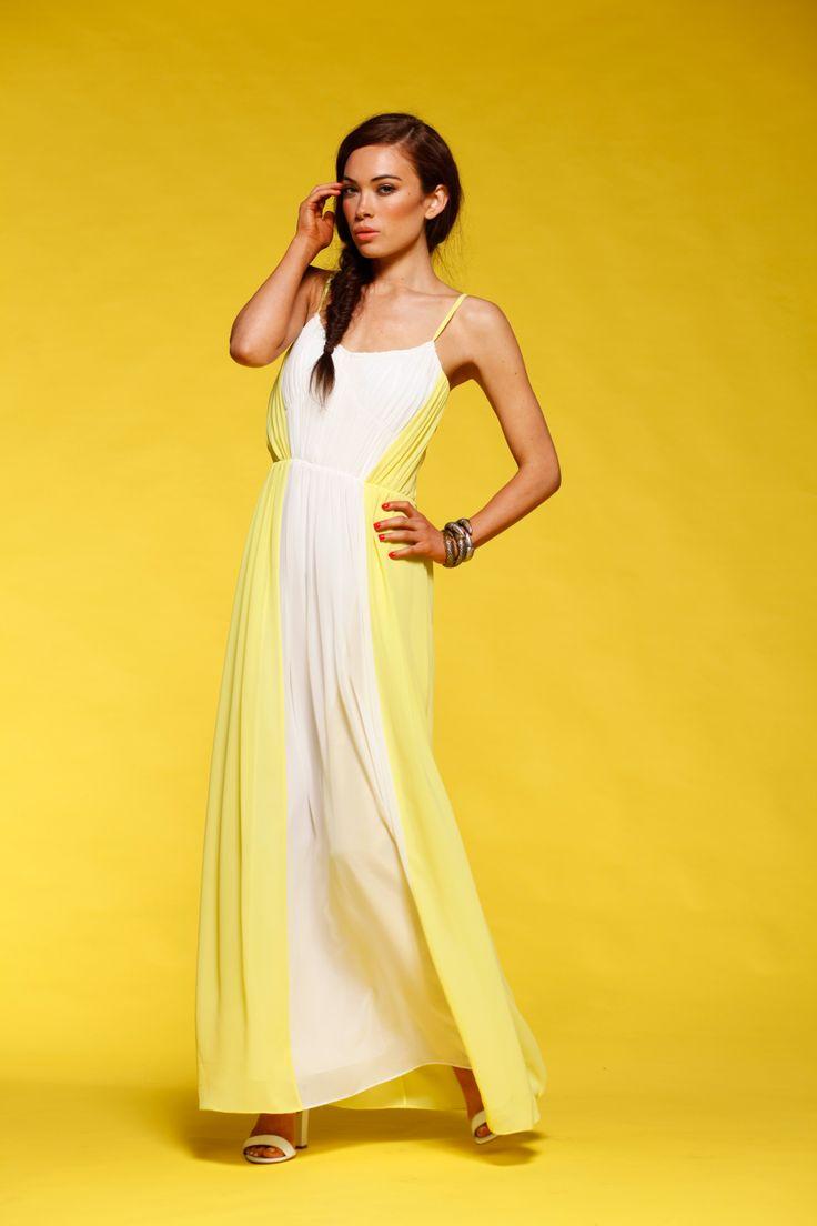 Honey & Beau - Block My Dress in Lemon HM55014