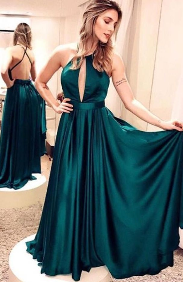 Emerald Green Satin Long Prom Dresses ,A-Line Evening Dresses Simple Backless Prom Dresses Party Dresses