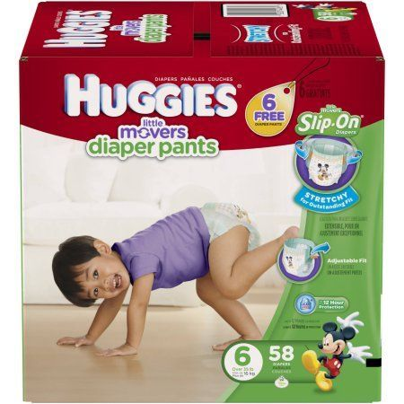 Huggies Little Movers Slip-On Diaper Pants, Size 6 (Choose Diaper Count)